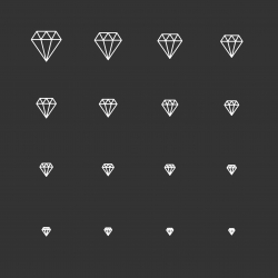 Diamond Icons - White Multi Scale Line Series