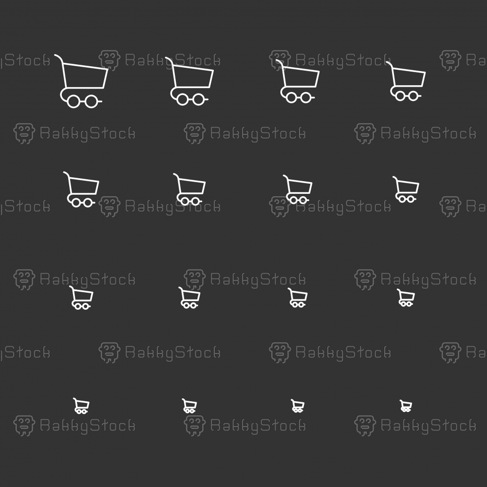 Shopping Cart Icons - White Multi Scale Line Series