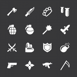 Weapon Icons - White Series | EPS10
