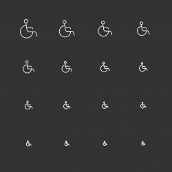 Handicap Sign Icons - White Multi Scale Line Series