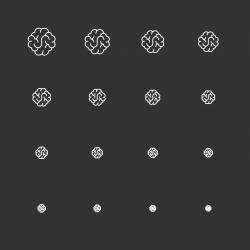 Brain Icons - White Multi Scale Line Series