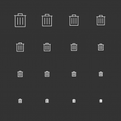 Garbage Can Icons - White Multi Scale Line Series