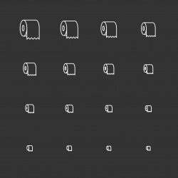 Toilet Paper Icons - White Multi Scale Line Series
