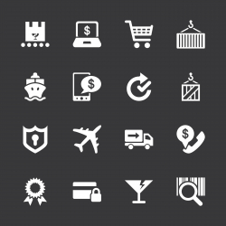 Online Shopping and Shipping Icons - White Series | EPS10