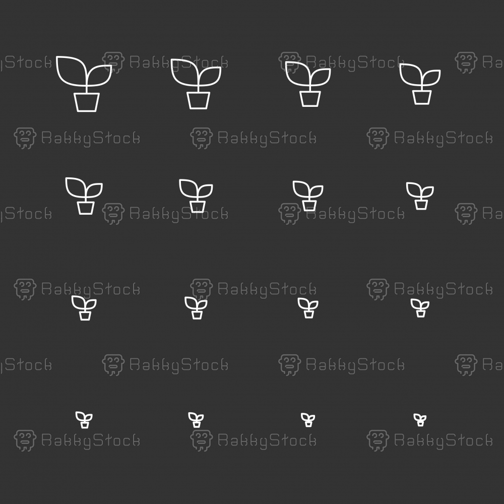 Potted Plant Icons - White Multi Scale Line Series