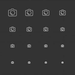 DSLR Camera Icons - White Multi Scale Line Series
