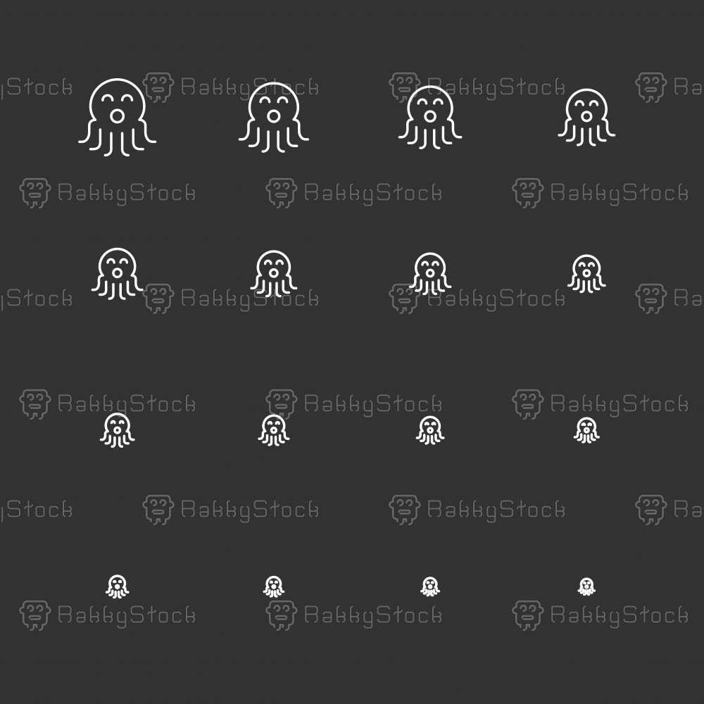 Octopus Icons - White Multi Scale Line Series