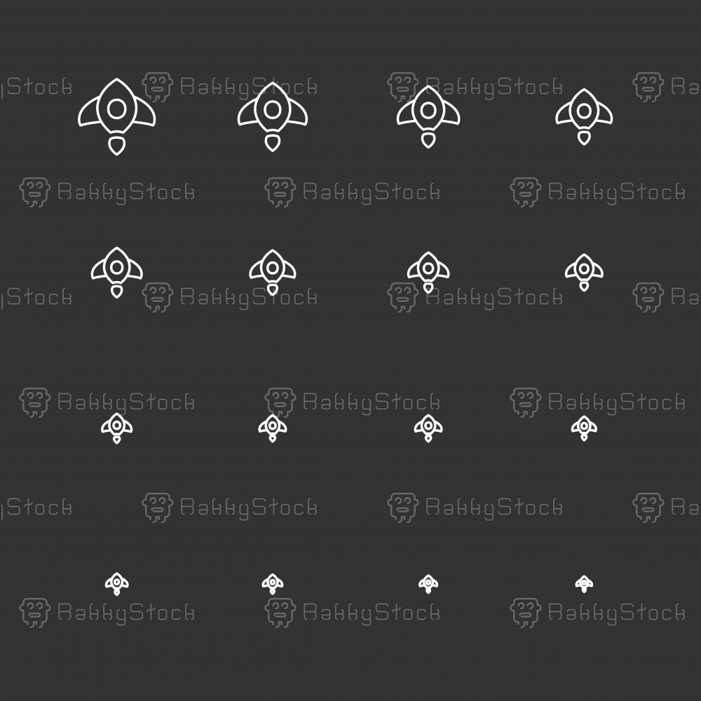 Rocket Icons - White Multi Scale Line Series