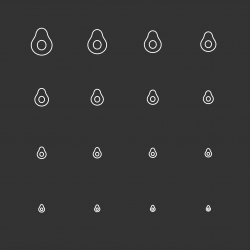 Avocado Icons - White Multi Scale Line Series