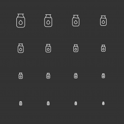 Milk Bottle Icons - White Multi Scale Line Series