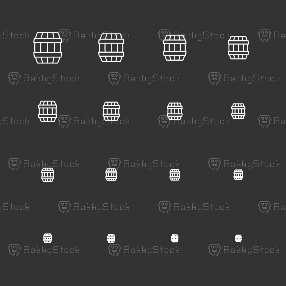 Wooden Barrel Icons - White Multi Scale Line Series