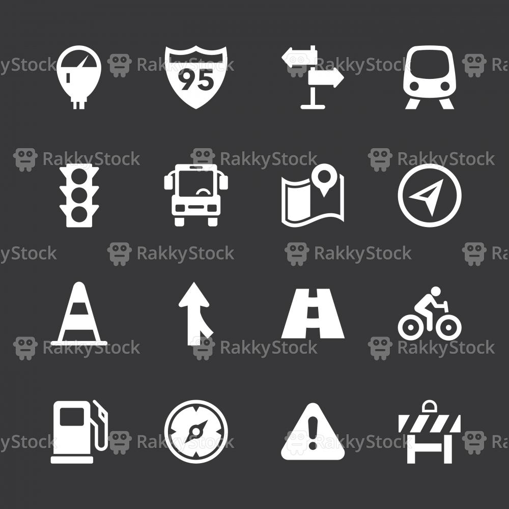 Traffic Icons - White Series   EPS10
