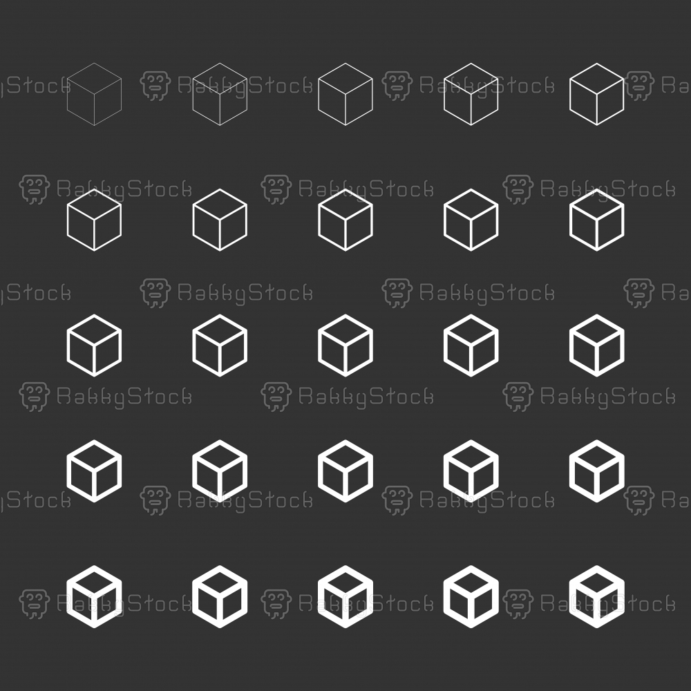 Cubic Icon - White Multi Line Series