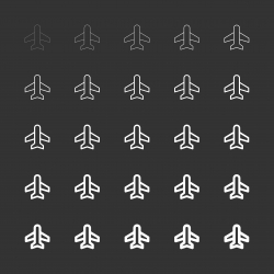 Airplane Icon - White Multi Line Series