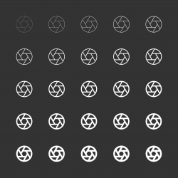 Aperture Icon - White Multi Line Series