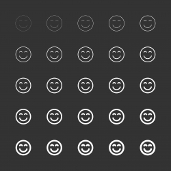 Smiley Emoticon Icon - White Multi Line Series