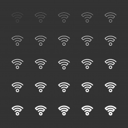 Wireless Signal Icon - White Multi Line Series