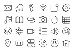 Mobile Device Setting Icons - Light Line Series