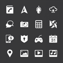 Smartphone Functions Icons - White Series | EPS10