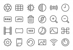 Camera Function Icon Set 2 - Light Line Series