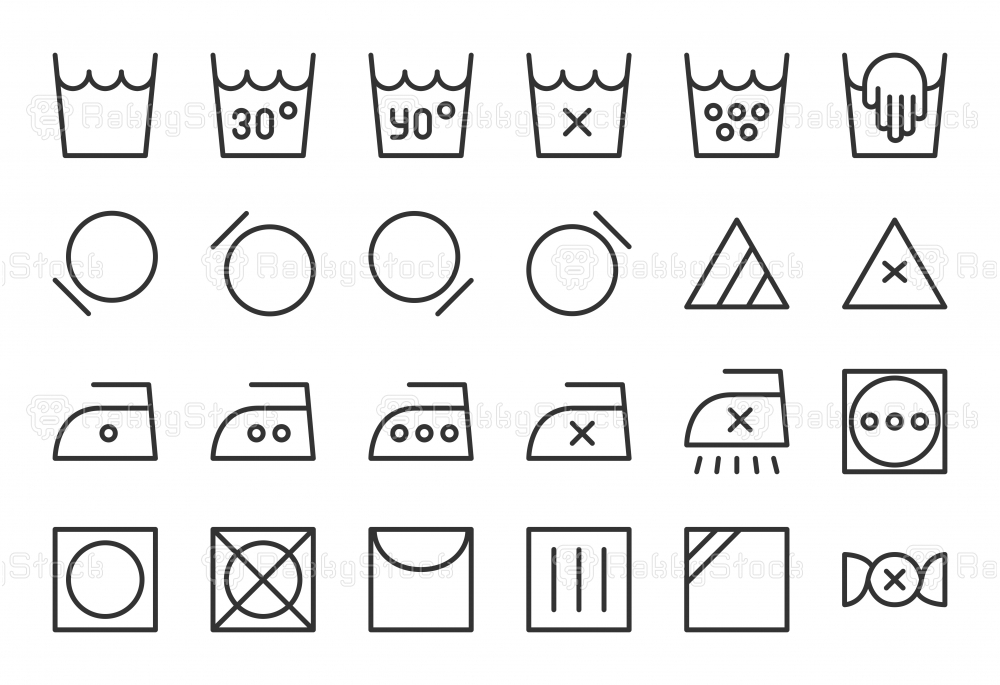 Laundry Sign Icons - Light Line Series