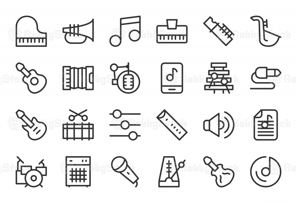 Musical Equipment Icons - Light Line Series