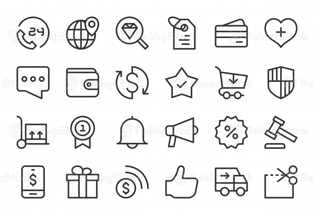 E-Commerce Icons - Light Line Series