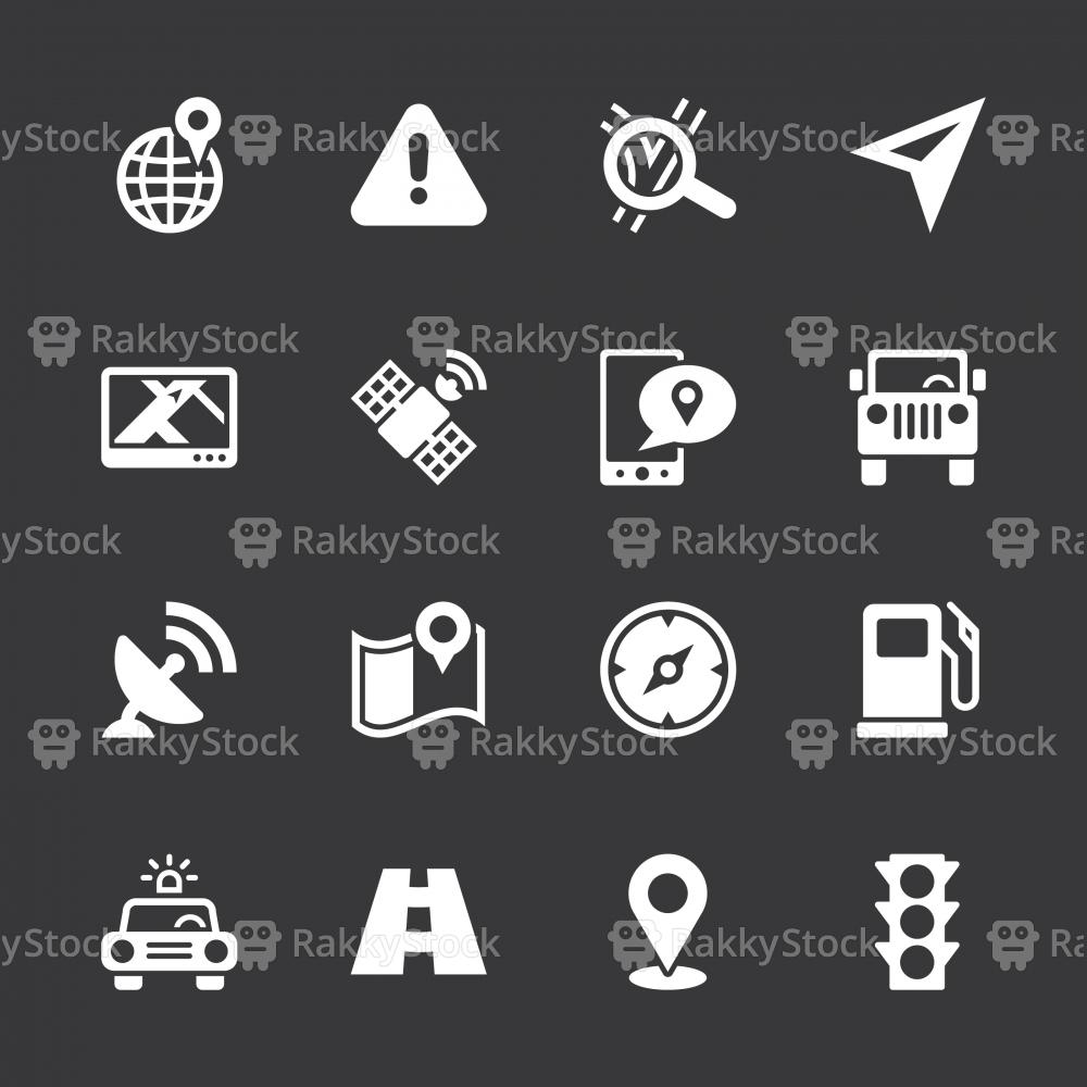 GPS Icons - White Series | EPS10