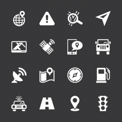 GPS Icons - White Series | EPS10