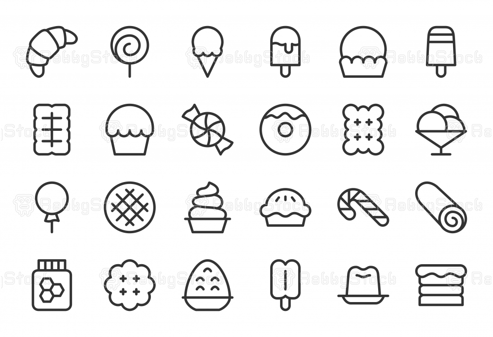 Dessert Icons - Light Line Series