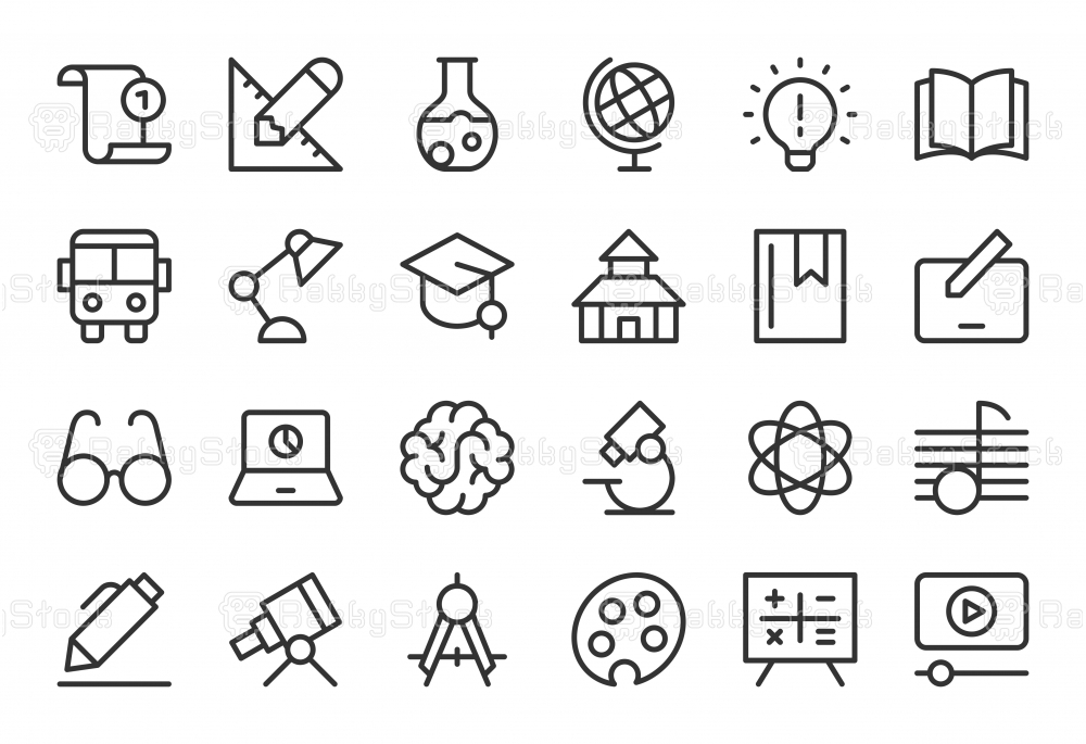 Education Icons - Light Line Series
