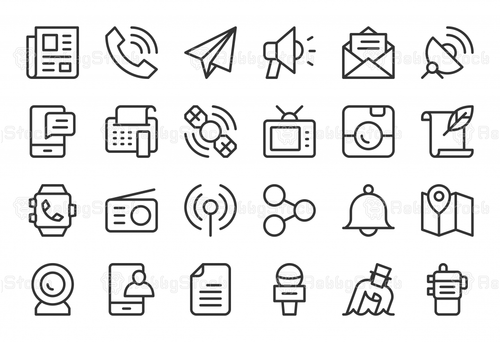 Communication Icons - Light Line Series