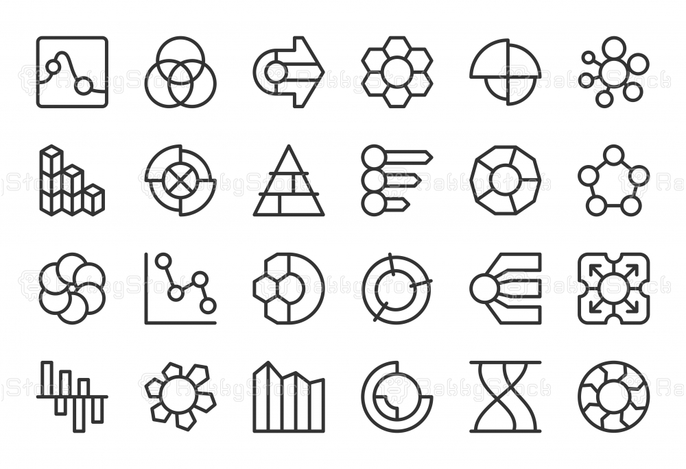 Business Infographic Icons - Light Line Series