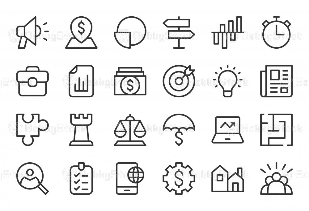 Business Strategy Icons - Light Line Series