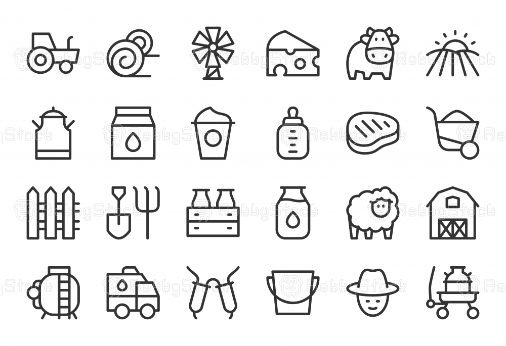 Dairy Farm Icons - Light Line Series