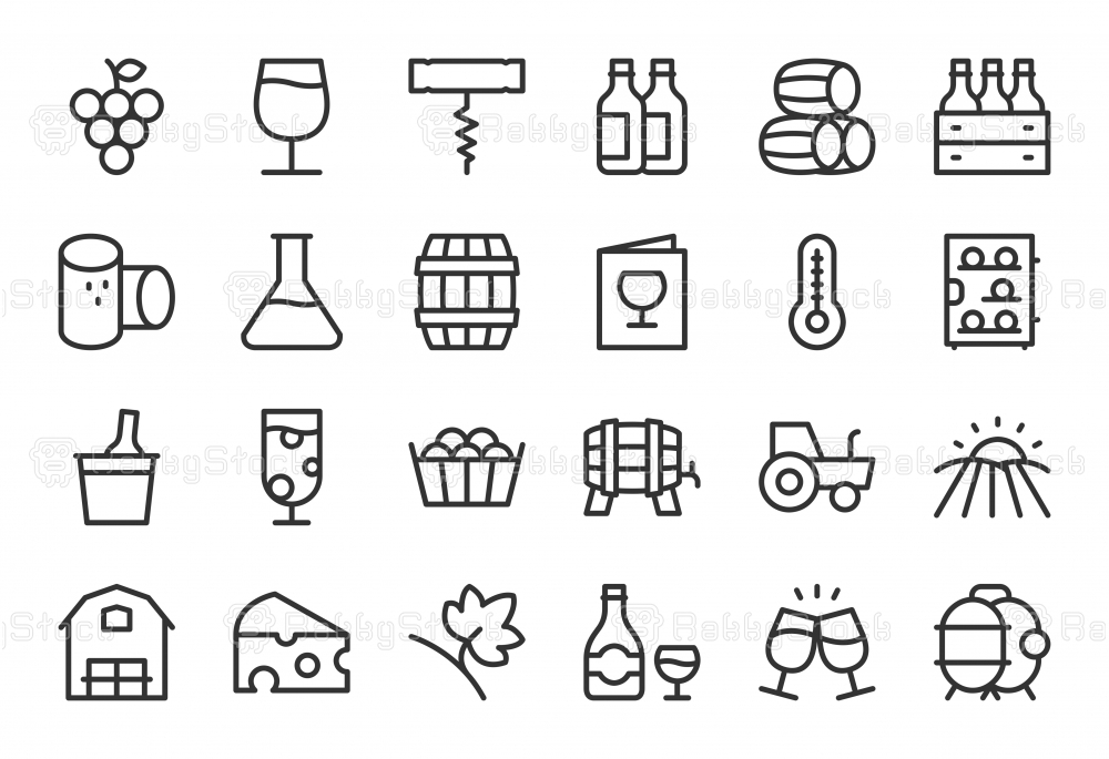 Winery Icons - Light Line Series