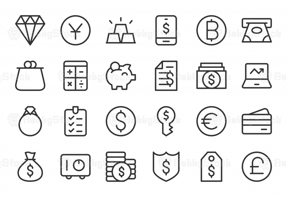 Financial Item Icons - Light Line Series