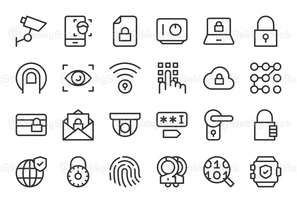 Security System Icons - Light Line Series
