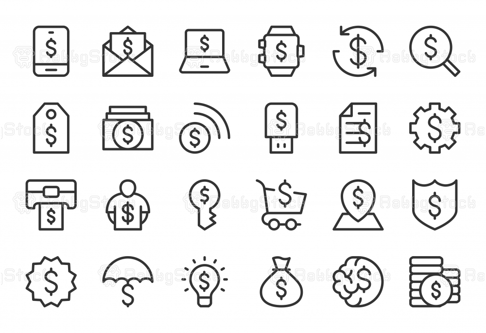 Dollar Sign Icons - Light Line Series