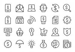 Dollar Sign Icons - Light Line Series