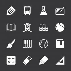 School Icons Set 2 - White Series   EPS10