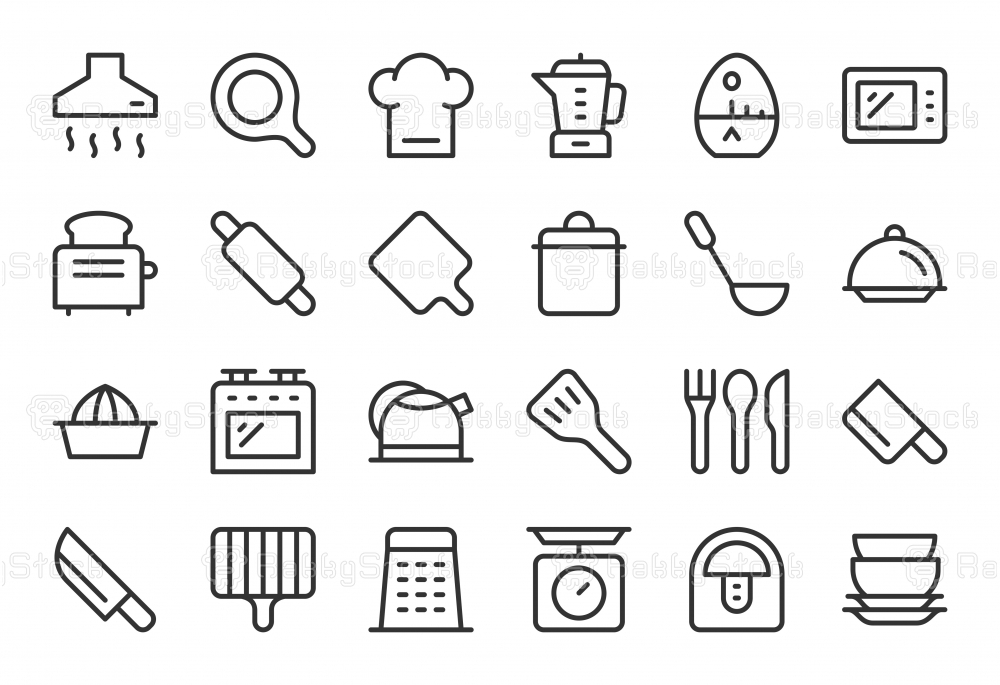 Kitchen Utensil Icons - Light Line Series