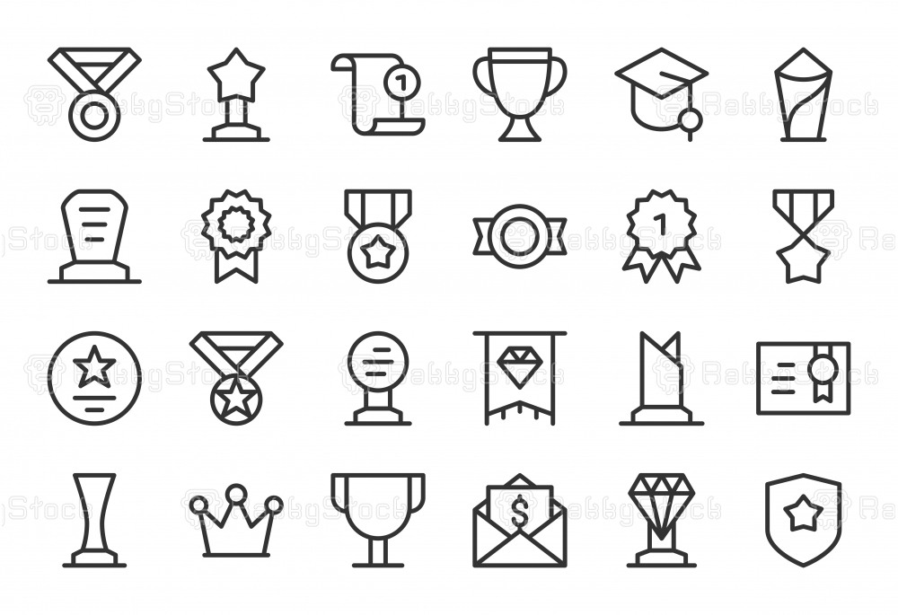 Award and Trophy Icons - Light Line Series