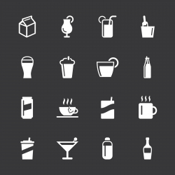 Beverage Icons - White Series | EPS10