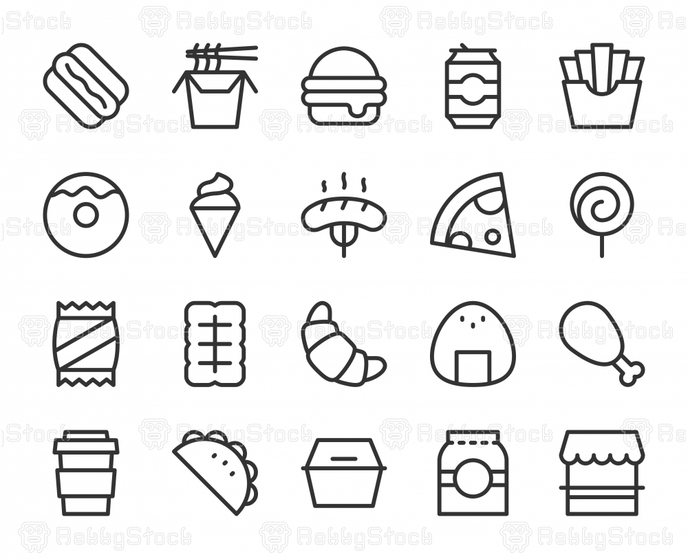 Fast Food - Line Icons