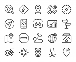 GPS and Navigation - Line Icons