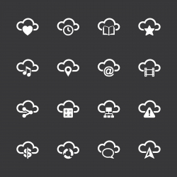 Cloud Computing Icons Set 2 - White Series | EPS10