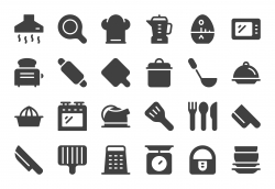 Kitchen Utensil Icons - Gray Series