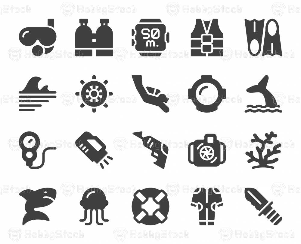 Scuba Diving and Snorkeling - Icons