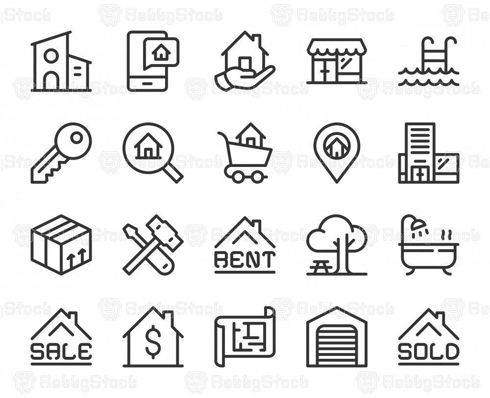 Real Estate - Line Icons